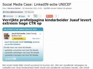views van artikel Marianna Bakker over actie Unicef Linkedin op PowerPR