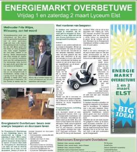 2 x A3 publicatie in huis-aan-huiskrant De Betuwe over Energiemarkt Overbetuwe Tekst en redactie door Marianna Bakker